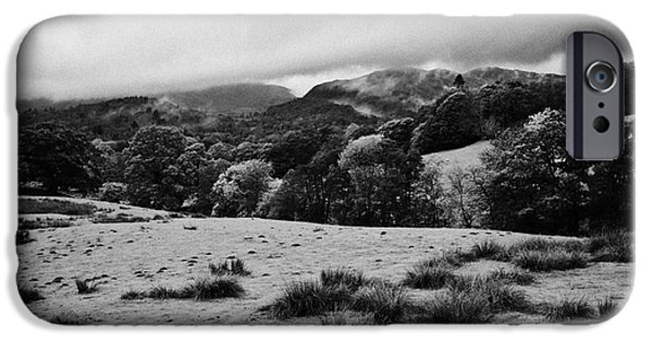Rainy Day iPhone Cases - Rainy Day In The Lake District Near Loughrigg Cumbria England Uk iPhone Case by Joe Fox