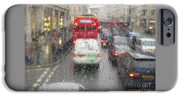Rainy Day iPhone Cases - Rainy Day London Traffic iPhone Case by Ann Horn