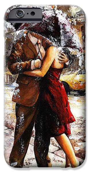 Handsome People iPhone Cases - Rainy day - Love in the rain 2 iPhone Case by Emerico Imre Toth