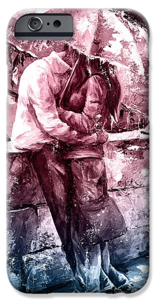 Handsome People iPhone Cases - Rainy day - Love in the rain #color01 iPhone Case by Emerico Imre Toth