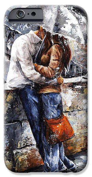 Relationship Paintings iPhone Cases - Rainy day - Love in the rain iPhone Case by Emerico Imre Toth