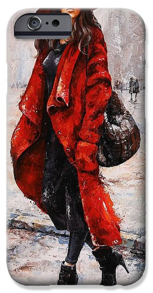 Nyc Rain iPhone Cases - Rainy Day - Red and black #2 iPhone Case by Emerico Imre Toth