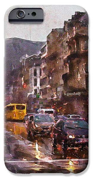 Rainy Days iPhone Cases - Rainy Day Traffic iPhone Case by Marian Voicu