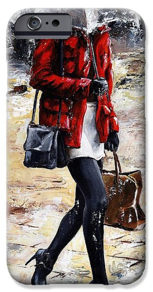 Raining iPhone Cases - Rainy day - Woman of New York 09 iPhone Case by Emerico Imre Toth