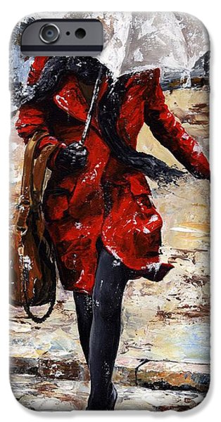 Model iPhone Cases - Rainy day - Woman of New York 10 iPhone Case by Emerico Imre Toth