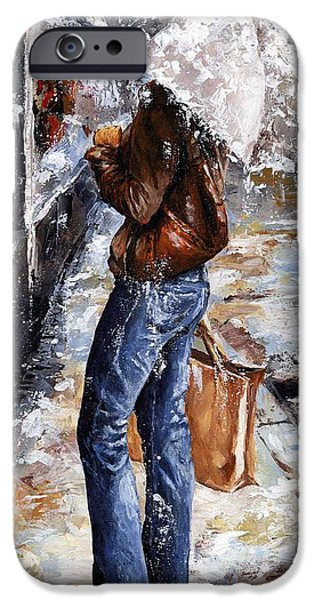 Rainy day - Woman of New York 15 iPhone Case by Emerico Imre Toth