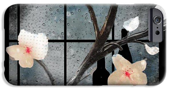 Rainy Day Mixed Media iPhone Cases - Rainy Flower Cafe iPhone Case by Kelly Schutz