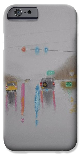 Escape Pastels iPhone Cases - Rainy Foggy Drive in the Country  iPhone Case by R Neville Johnston
