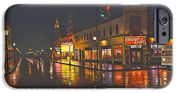 Rain iPhone Cases - Rainy Night-117th and Detroit     iPhone Case by Paul Krapf