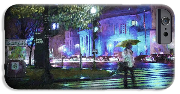 Crosswalk Photographs iPhone Cases - Rainy Night Blues iPhone Case by Terry Rowe