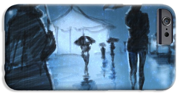 Umbrella Mixed Media iPhone Cases - Rainy Night iPhone Case by H James Hoff