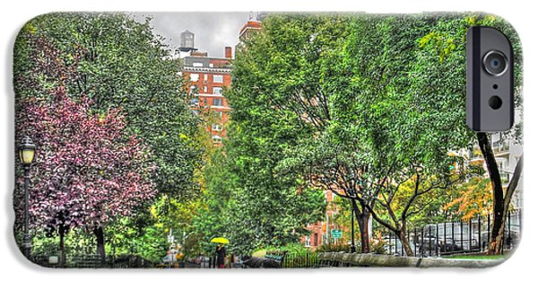 Nyc Rain iPhone Cases - Rainy Riverside Park iPhone Case by Randy Aveille