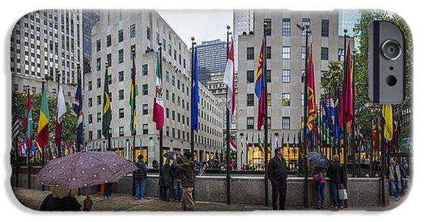 Rainy Day iPhone Cases - Rainy Rockefeller Plaza  iPhone Case by John McGraw