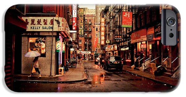 Umbrella iPhone Cases - Rainy Street - New York City iPhone Case by Vivienne Gucwa