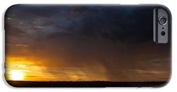 Turbulent Skies iPhone Cases - Rainy Sunset  iPhone Case by Brandon  Ivey