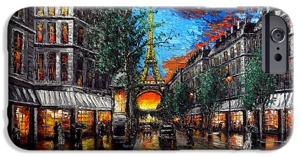 Umbrella Reliefs iPhone Cases - Rainy Sunset in Paris iPhone Case by Alexandru Rusu
