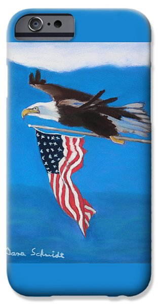 American Flag Pastels iPhone Cases - Raise the Flag Up High iPhone Case by Dana Schmidt