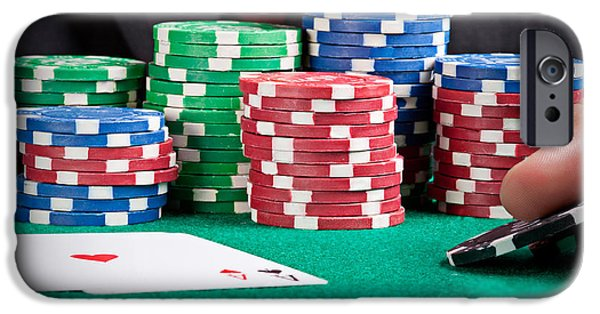 Raise Poker Chips iPhone Cases - Raising a bet iPhone Case by Rui Santos
