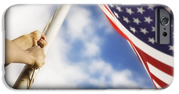 Patriots iPhone Cases - Raising An American Flag iPhone Case by Chris and Kate Knorr