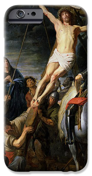 Calvary iPhone Cases - Raising The Cross, 1631-37 Oil On Canvas iPhone Case by Gaspar de Crayer