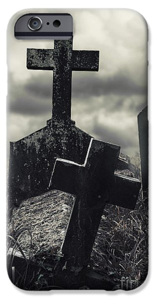 Headstones iPhone Cases - Raising the Dead iPhone Case by Margie Hurwich