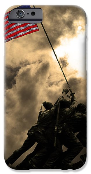 Recently Sold -  - July 4th iPhone Cases - Raising The Flag at Iwo Jima 20130211 iPhone Case by Wingsdomain Art and Photography