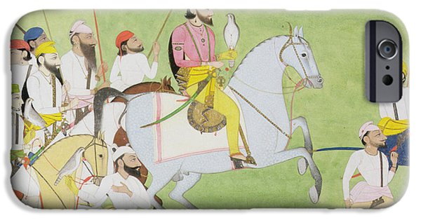 Equestrian Prints iPhone Cases - Rajah Dhian Singh Hunting iPhone Case by Indian School
