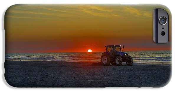 Rake iPhone Cases - Raking the Beach at Dawn - Avalon New Jersey iPhone Case by Bill Cannon