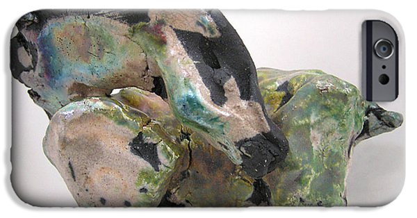Abstract Expressionism Sculptures iPhone Cases - Raku Green iPhone Case by Valerie Freeman