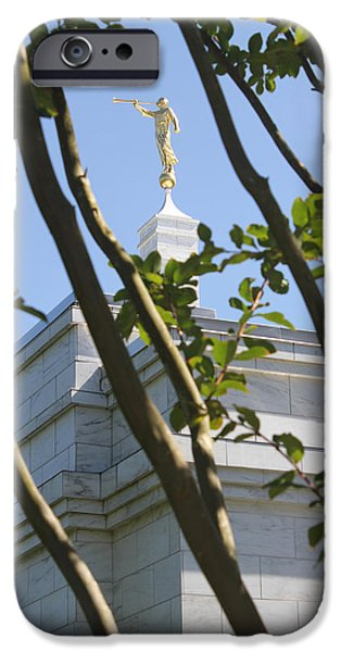 Angel Moroni iPhone Cases - Raleigh NC LDS Temple iPhone Case by Nathanael Verrill