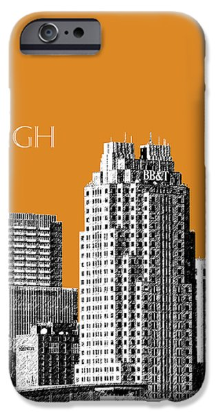 Pen And Ink iPhone Cases - Raleigh Skyline - Dark Orange iPhone Case by DB Artist