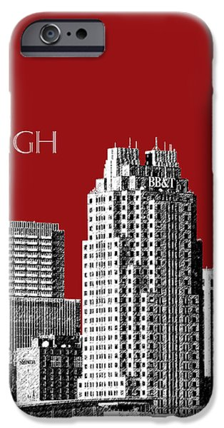 Pen And Ink iPhone Cases - Raleigh Skyline - Dark Red iPhone Case by DB Artist