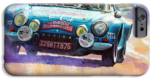 Rally iPhone Cases - Rally Monte Carlo 1972 Alpine-Renault A110 1600  iPhone Case by Yuriy Shevchuk