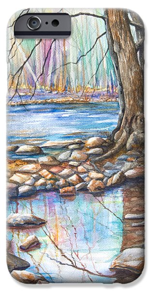 Trees Reflecting In Water iPhone Cases - Ralph Stover Park in the Spring iPhone Case by Patricia Allingham Carlson