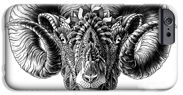 Artwork Drawings iPhone Cases - Ram Head iPhone Case by BioWorkZ