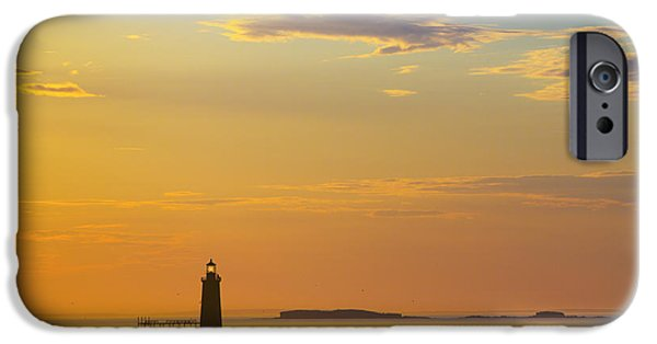 Maine iPhone Cases - Ram Island Lighthouse Casco Bay Maine iPhone Case by Diane Diederich