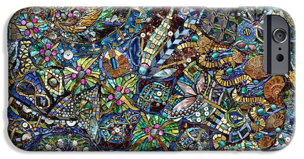 Mosaic iPhone Cases - Ramblings, 2009 Mixed Media iPhone Case by Maylee Christie