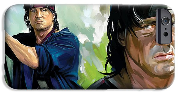 Sylvester Stallone iPhone Cases - Rambo Artwork iPhone Case by Sheraz A