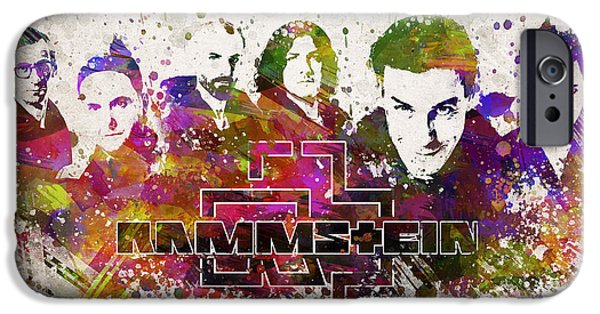 Splutter Digital Art iPhone Cases - Rammstein in Color iPhone Case by Aged Pixel