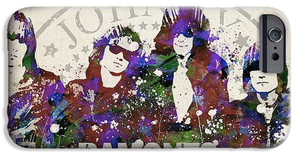Melody Digital Art iPhone Cases - Ramones Portrait iPhone Case by Aged Pixel