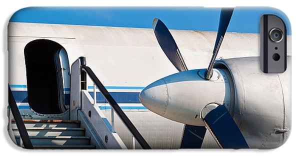 Jet Pyrography iPhone Cases - Ramp of an airplane with opened door iPhone Case by Oliver Sved