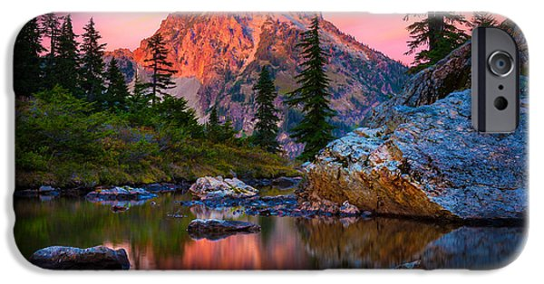 Drama iPhone Cases - Rampart Lakes Tarn iPhone Case by Inge Johnsson