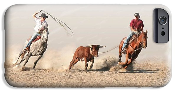 Roping Horse iPhone Cases - Ranch Roping iPhone Case by Bill Losey