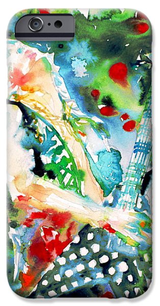 Randy iPhone Cases - RANDY RHOADS playing the GUITAR - watercolor portrait iPhone Case by Fabrizio Cassetta
