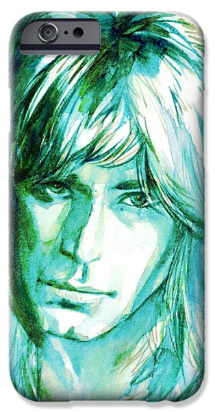 Randy iPhone Cases - Randy Rhoads Portrait iPhone Case by Fabrizio Cassetta