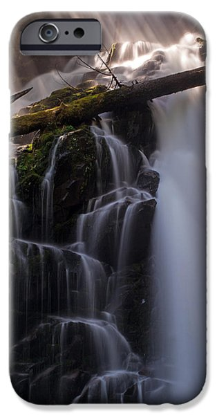 Nature Divine iPhone Cases - Ranger Falls Sunbeams iPhone Case by Mike Reid