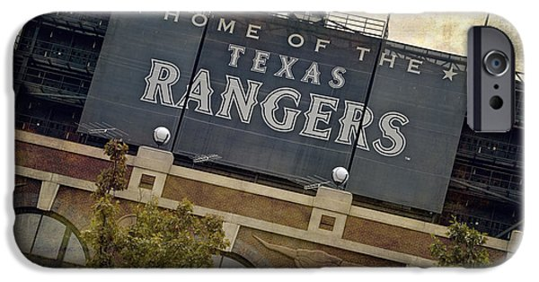 Sign iPhone Cases - Rangers Ballpark in Arlington Color iPhone Case by Joan Carroll