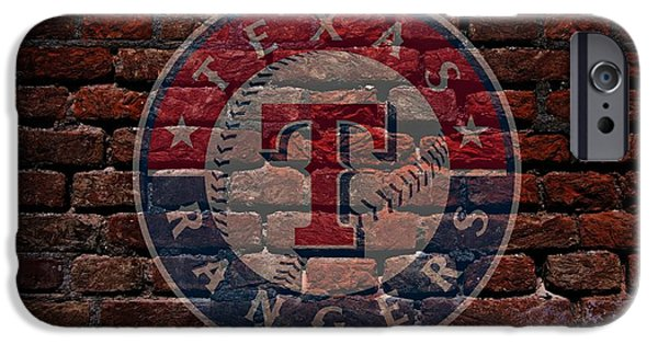 Shortstop iPhone Cases - Rangers Baseball Graffiti on Brick  iPhone Case by Movie Poster Prints