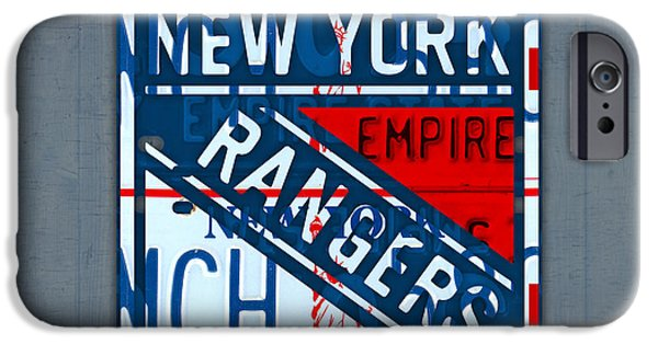 Hockey Mixed Media iPhone Cases - Rangers Original Six Hockey Team Retro Logo Vintage Recycled New York License Plate Art iPhone Case by Design Turnpike