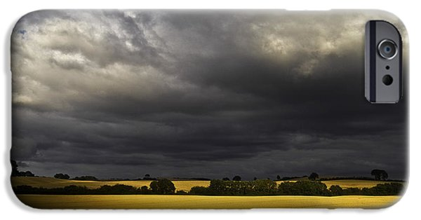 Crops iPhone Cases - Rapefield Under Dark Sky iPhone Case by Heiko Koehrer-Wagner